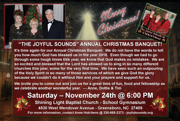 Joyful Sounds - Annual Christmas Banquet! @ Shining Light Baptist Church - School Gymnasium | Greensboro | North Carolina | United States
