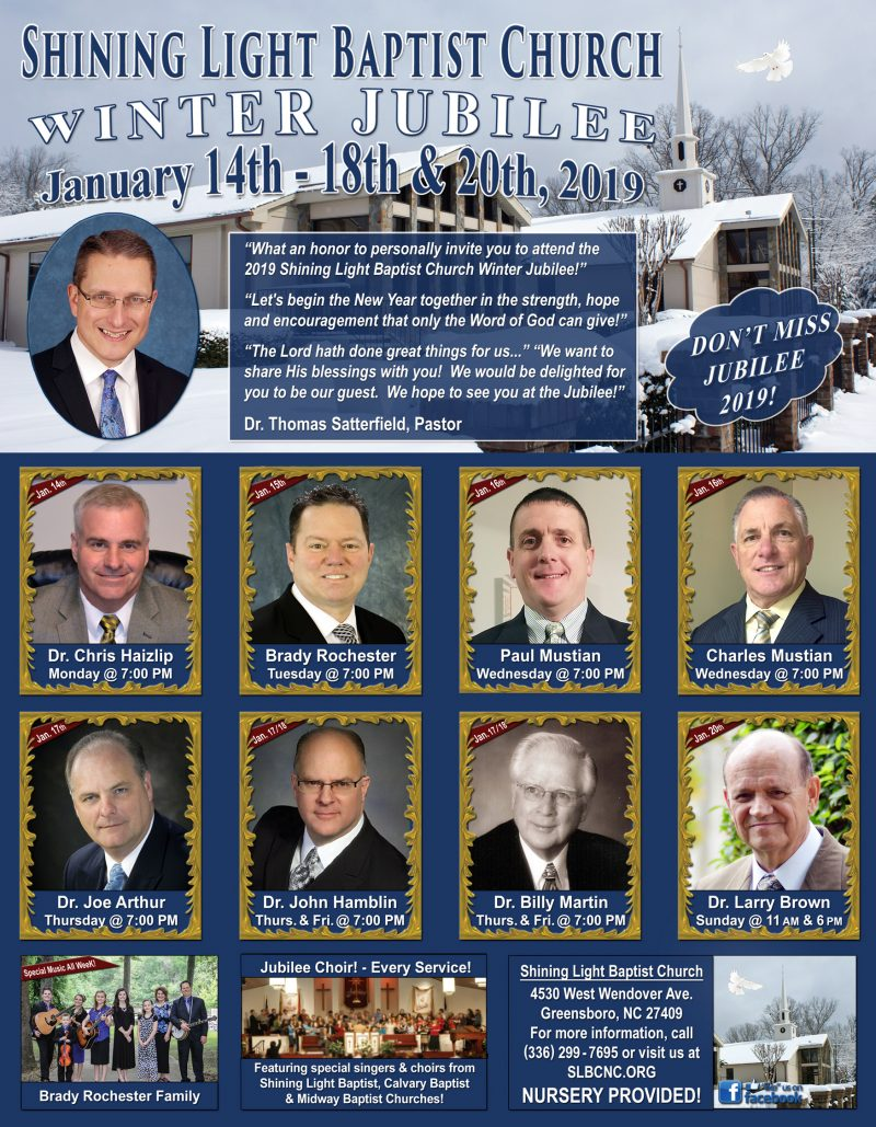 Shining Light Baptist Church - Greensboro, NC - Winter Jubilee! - 11 AM & 6 PM