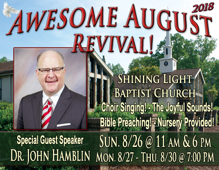 Awesome August Revival! - SLBC - Greensboro, NC @ Shining Light Baptist Church | Greensboro | North Carolina | United States