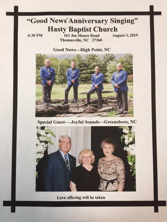 Good News Anniversary Sing! - Thomasville, NC @ Hasty Baptist Church